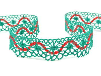 Bobbin lace No. 82129 light green/red | 30 m - 3
