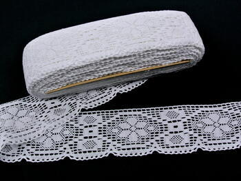 Paličkovaná krajka vzor 82149 bílá | 30 m - 3