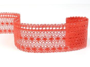 Paličkovaná krajka vzor 82240 světle červená korálová | 30 m - 3