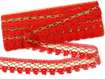Bobbin lace No. 82293 light red/gold | 30 m - 3
