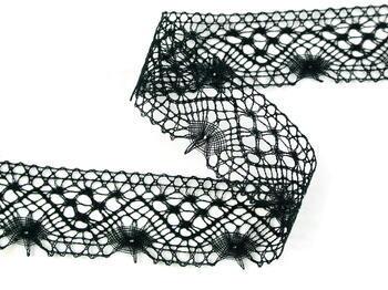 Paličkovaná krajka vzor 82316 černá | 30 m - 3