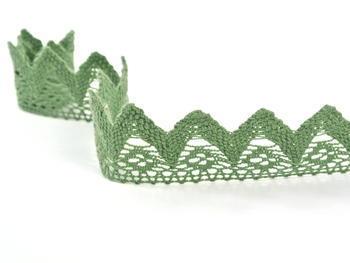 Paličkovaná krajka vzor 82334 zelená olivová | 30 m - 3