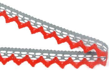 Paličkovaná krajka vzor 82352 šedá/červená | 30 m - 3