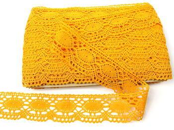 Paličkovaná krajka 75032 bavlněná, šířka45mm, tmavě žlutá - 4
