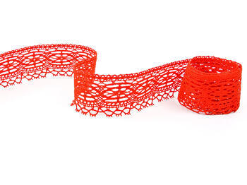 Cotton bobbin lace 75037, width57mm, red - 4