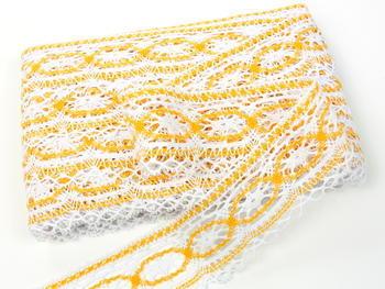 Paličkovaná krajka vzor 75037 bílá/tmavě žlutá |  30 m - 4