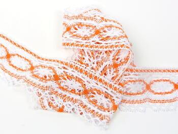 Paličkovaná krajka 75037 bavlněná, šířka57mm, bílá/oranžová - 4