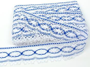 Paličkovaná krajka vzor 75037 bílá/královsky modrá|  30 m - 4