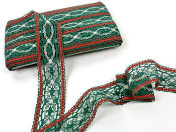 Cotton bobbin lace insert 75038, width52mm, dark green/red/light linen - 4
