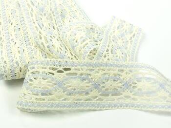 Cotton bobbin lace insert 75038, width52mm, light cream/light blue - 4