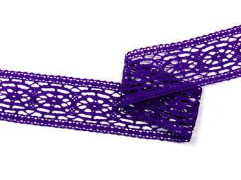 Paličkovaná vsadka 75038 bavlněná, šířka52mm, purpurová/fialová - 4