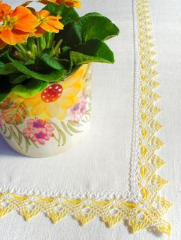Bobbin lace No. 75041 white/yellow/light yellow | 30 m - 4