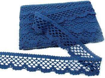 Cotton bobbin lace 75067, width 47 mm, ocean blue - 4