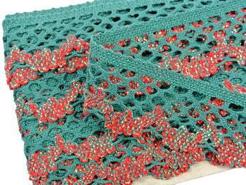 Cotton bobbin lace 75067, width 47 mm, dark green/lig.red/lig.green/Lurex gold - 4