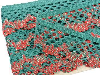 Bobbin lace No. 75067 dark green/light red/light green/gold  | 30 m - 4