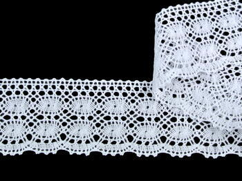 Cotton bobbin lace 75076, width53mm, white - 4