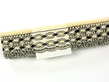 Bobbin lace No. 75076 ecru/dark brown | 30 m - 4