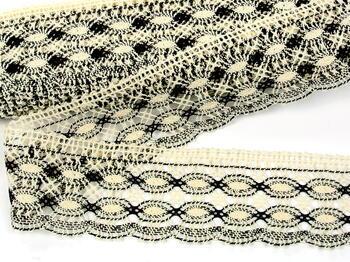 Cotton bobbin lace 75076, width53mm, ecru/dark brown - 4
