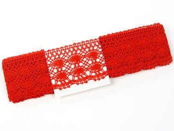 Cotton bobbin lace 75076, width 53 mm, red - 4