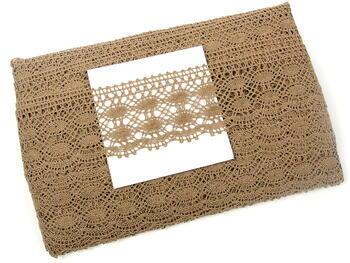 Cotton bobbin lace 75076, width 53 mm, dark beige - 4