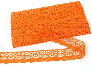Cotton bobbin lace 75077, width 32 mm, rich orange - 4