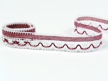 Paličkovaná krajka vzor 75079 bílá/brusinková| 30 m - 4