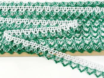 Paličkovaná krajka vzor 75087 bílá/světle zelená | 30 m - 4
