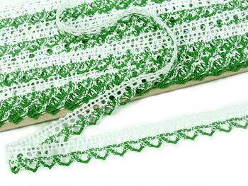 Paličkovaná krajka 75087 bavlněná, šířka19mm, bílá/trávová zelená - 4