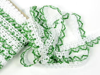 Bobbin lace No. 75087 white/grass green | 30 m - 4