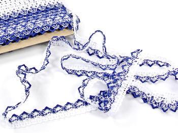 Paličkovaná krajka 75087 bavlněná, šířka19mm, bílá/modrá - 4