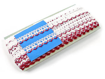 Bobbin lace No. 75087 white/red bilberry | 30 m - 4