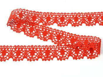 Paličkovaná krajka 75088 bavlněná, šířka 27 mm, červená - 4