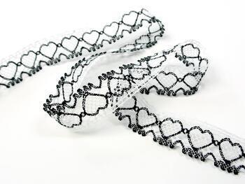 Cotton bobbin lace 75133, width 19 mm, white merc./black - 4