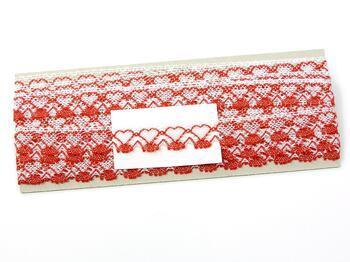 Paličkovaná krajka 75133 bavlněná, šířka19 mm, bílá/sv.červená - 4
