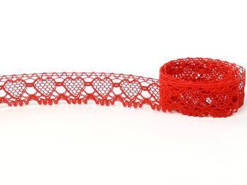 Paličkovaná krajka 75133 bavlněná, šířka19 mm, červená - 4