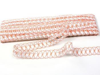 Paličkovaná krajka vzor 75169 bílá/oranžová | 30 m - 4