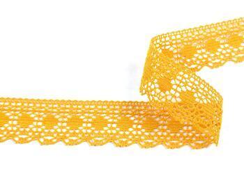 Cotton bobbin lace 75184, width 25 mm, dark yellow - 4