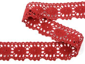 Cotton bobbin lace 75187, width 32 mm, wine - 4