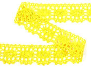 Paličkovaná krajka 75187 bavlněná, šířka32mm, žlutá - 4