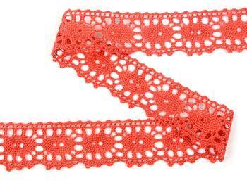 Cotton bobbin lace 75187, width 32 mm, coral - 4