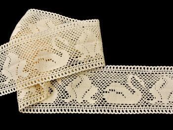 Cotton bobbin lace insert 75189, width77mm, ecru - 4