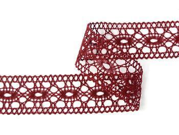 Cotton bobbin lace insert 75201, width35mm, cranberry - 4
