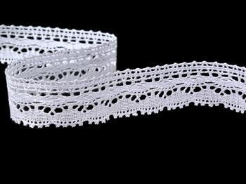 Cotton bobbin lace 75202, width 30 mm, white - 4