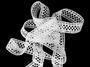 Cotton bobbin lace insert 75205, width27mm, white - 4/4