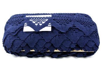 Paličkovaná krajka vzor 75221 modročerná | 30 m - 4