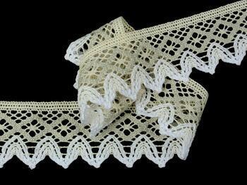 Cotton bobbin lace 75222, width 46 mm, ecru/light linen gray/white - 4