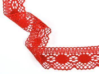 Paličkovaná krajka 75223 bavlněná, šířka 50 mm, červená - 4