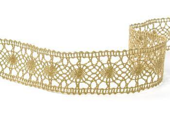 Cotton bobbin lace insert 75235, width43mm, chocolate brown - 4