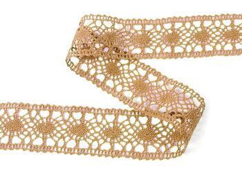 Cotton bobbin lace insert 75235, width43mm, dark beige - 4