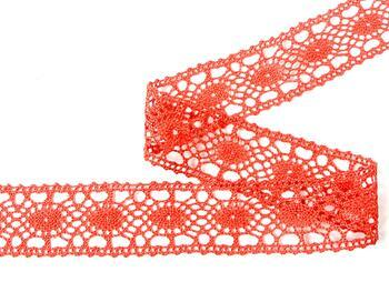 Cotton bobbin lace insert 75235, width43mm, red coral - 4